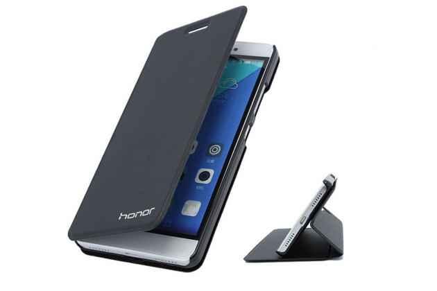 Фирменный чехол-книжка с логотипом для Huawei Honor 6C Pro водоотталкивающий с мульти-подставкой цвет черный