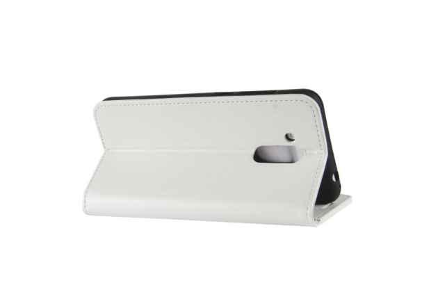 Фирменный чехол-книжка из качественной импортной кожи с подставкой застёжкой и визитницей для Huawei Honor 6C Pro / Huawei Honor V9 Play белый