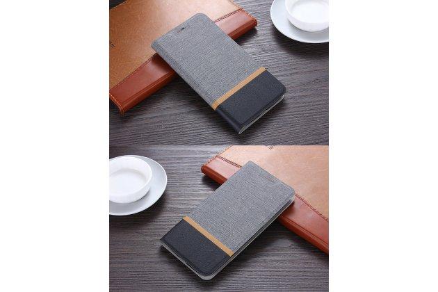 Фирменный чехол-книжка с визитницей и мультиподставкой на жёсткой металлической основе для Huawei Honor 6C Pro / Huawei Honor V9 Play серый из настоящей джинсы