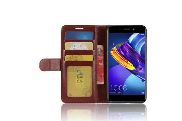 Фирменный чехол-книжка из качественной импортной кожи с подставкой застёжкой и визитницей для Huawei Honor 6C Pro / Huawei Honor V9 Play коричневый