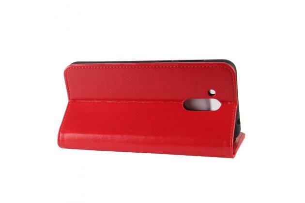 Фирменный чехол-книжка из качественной импортной кожи с подставкой застёжкой и визитницей для Huawei Honor 6C Pro / Huawei Honor V9 Play красный