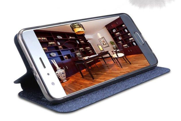 Фирменный чехол-книжка водоотталкивающий с мульти-подставкой на жёсткой металлической основе для Huawei Honor 6C Pro / Huawei Honor V9 Play  черный