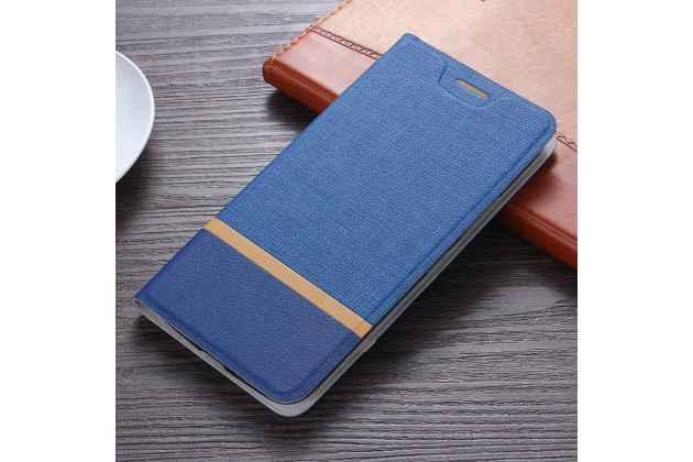 Фирменный чехол-книжка с визитницей и мультиподставкой на жёсткой металлической основе для Huawei Honor 6C Pro / Huawei Honor V9 Play синий из настоящей джинсы