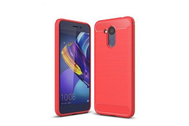 """Задняя панель-крышка из тончайшего и прочного силикона для Huawei Honor 6C Pro / Huawei Honor V9 Play с матовой отделкой """"под карбон"""" красная"""