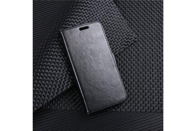 Фирменный чехол-книжка из качественной импортной кожи с подставкой застёжкой и визитницей для Huawei Honor 6C Pro / Huawei Honor V9 Play черный