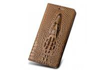 Фирменный роскошный эксклюзивный чехол с объёмным 3D изображением кожи крокодила коричневый для Huawei Honor 6X (BLN-AL10) 5.5/ Honor 6X Premium . Только в нашем магазине. Количество ограничено