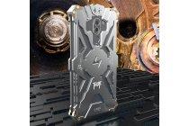 Противоударный металлический чехол-бампер из цельного куска металла с усиленной защитой углов и необычным экстремальным дизайном  для  Huawei Honor 6X (BLN-AL10) 5.5/ Honor 6X Premium серебристого цвета
