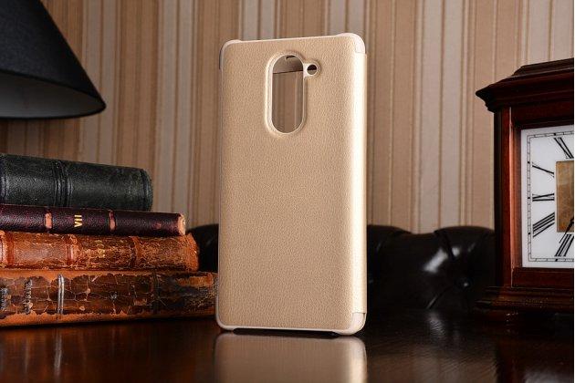 Фирменный оригинальный чехол-книжка с логотипом для Huawei Honor 6X (BLN-AL10) 5.5 золотой кожаный с окошком для входящих вызовов