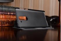 Фирменный чехол-книжка для Huawei Honor 6X (BLN-AL10) 5.5 черный с окошком для входящих вызовов и свайпом водоотталкивающий