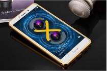 Фирменная металлическая задняя панель-крышка-накладка из тончайшего облегченного авиационного алюминия для Huawei Honor 6X (BLN-AL10) 5.5 золотая