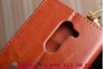 Фирменный чехол-книжка из качественной импортной кожи с подставкой застёжкой и визитницей для Huawei Honor 6X (BLN-AL10) 5.5 коричневый