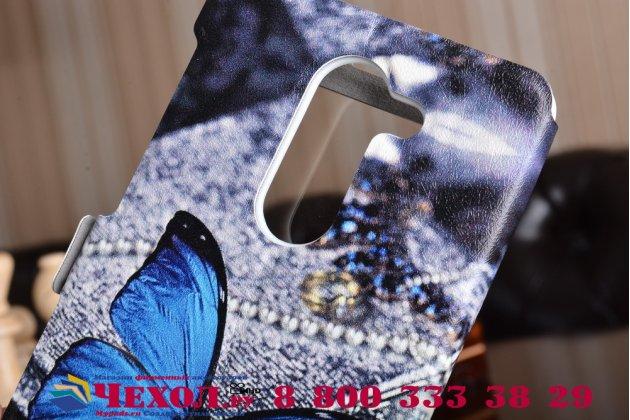 """Фирменный чехол-книжка с безумно красивым расписным рисунком """"тематика Бабочка"""" на Huawei Honor 6X (BLN-AL10) 5.5 с окошком для звонков"""