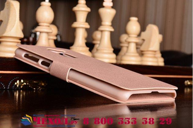 Фирменный чехол-книжка водоотталкивающий с мульти-подставкой на жёсткой металлической основе для Huawei Honor 6X (BLN-AL10) 5.5 розовое золото