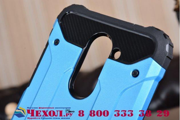 Противоударный усиленный ударопрочный фирменный чехол-бампер-пенал для Huawei Honor 6X (BLN-AL10) 5.5 синий