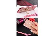 Фирменная роскошная элитная силиконовая задняя панель-накладка украшенная стразами кристалликами и декорированная элементами для Huawei Honor 7 Plus розовая