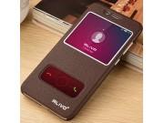 Фирменный чехол-книжка для Huawei Honor 7 Plus коричневый с окошком для входящих вызовов и свайпом водоотталки..