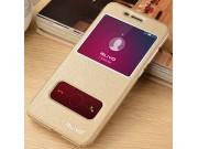 Фирменный чехол-книжка для Huawei Honor 7 Plus золотой с окошком для входящих вызовов и свайпом водоотталкиваю..