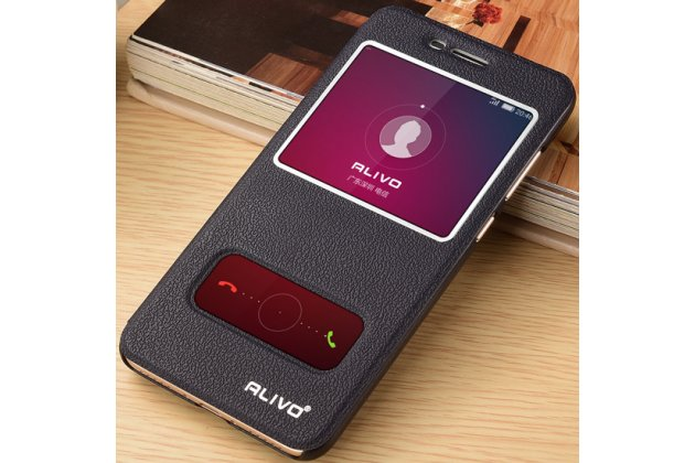Фирменный чехол-книжка для Huawei Honor 7 Plus черный с окошком для входящих вызовов и свайпом водоотталкивающий