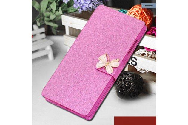 Фирменный роскошный чехол-книжка безумно красивый декорированный бусинками и кристаликами на Huawei Honor 8 Lite / Huawei P8 Lite 2017 Edition  розовый