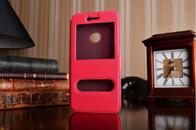 Фирменный чехол-книжка для Honor 8 Lite / Huawei P8 Lite 2017 Edition  красный с окошком для входящих вызовов и свайпом водоотталкивающий
