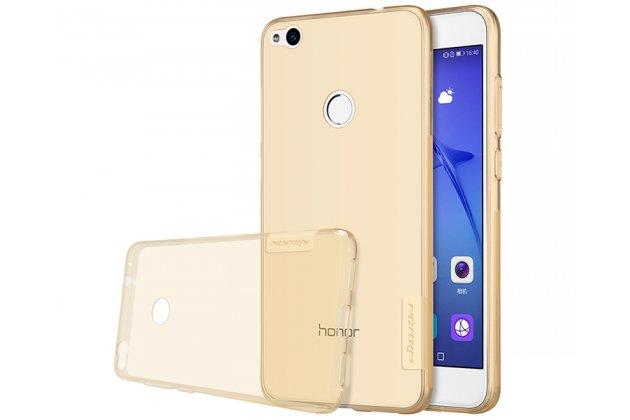 Фирменная задняя панель-чехол-накладка с защитными заглушками с защитой боковых кнопок для Honor 8 Lite / Huawei P8 Lite 2017 Edition  прозрачная золотая