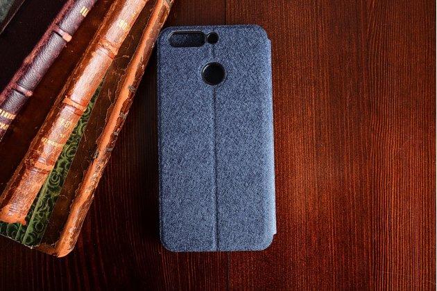 Фирменный чехол-книжка из качественной водоотталкивающей импортной кожи на жёсткой металлической основе для Huawei Honor 8 Pro 5.7/Huawei Honor V9 5.7(DUK-AL20) синего цвета.
