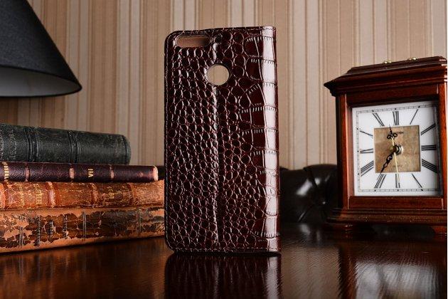 Фирменный оригинальный чехол-книжка для Huawei Honor 8 Pro 5.7/Huawei Honor V9 5.7(DUK-AL20) коричневый с окошком для входящих вызовов водоотталкивающий