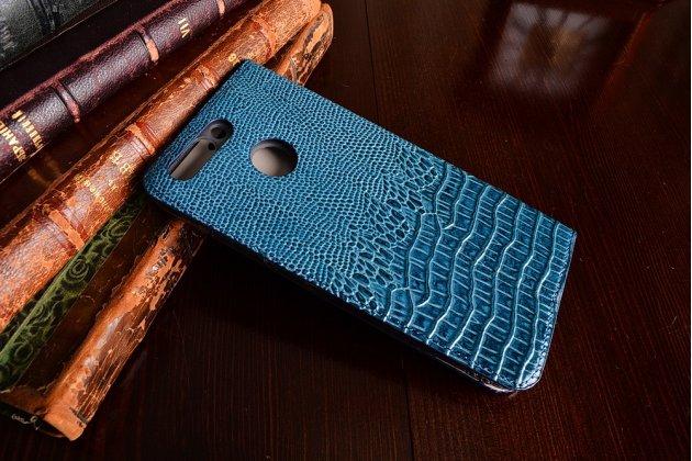 Фирменный роскошный эксклюзивный чехол с объёмным 3D изображением кожи крокодила синий для Huawei Honor 8 Pro 5.7/Huawei Honor V9 5.7(DUK-AL20) . Только в нашем магазине. Количество ограничено