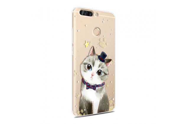 "Фирменная роскошная задняя панель-чехол-накладка из мягкого силикона с изображением на Huawei Honor 8 Pro 5.7/Huawei Honor V9 5.7(DUK-AL20) с безумно красивым рисунком ""тематика Кот"""