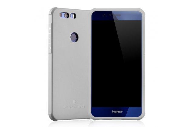 Фирменная ультра-тонкая полимерная из мягкого качественного силикона задняя панель-чехол-накладка для Huawei Honor 8 Pro 5.7/Huawei Honor V9 5.7(DUK-AL20) светло-серого цвета.