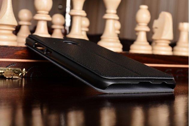 Фирменный чехол-книжка для Huawei Honor 8 Pro 5.7/Huawei Honor V9 5.7(DUK-AL20) чёрный с окошком для входящих вызовов и свайпом водоотталкивающий