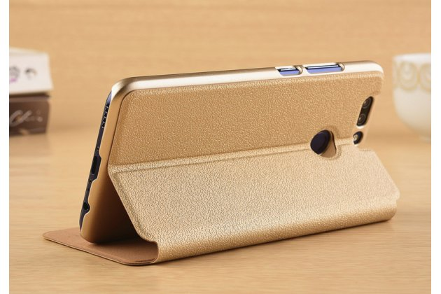 Фирменный чехол-книжка для Huawei Honor 8 Pro 5.7/Huawei Honor V9 5.7(DUK-AL20) золотой с окошком для входящих вызовов и свайпом водоотталкивающий