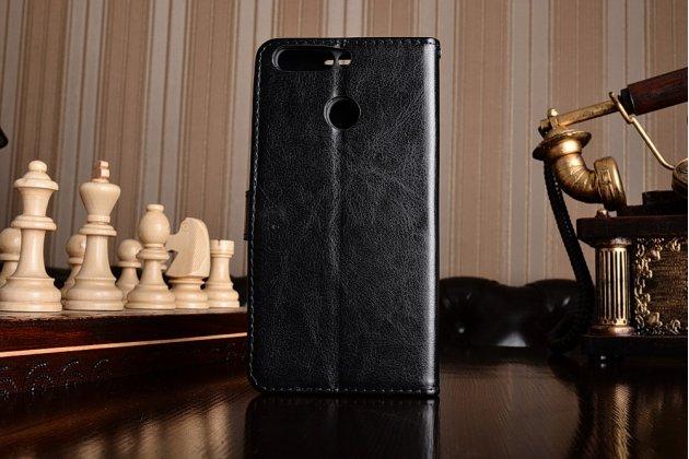 Фирменный чехол-книжка из качественной импортной кожи с подставкой застёжкой и визитницей для Huawei Honor 8 Pro 5.7/Huawei Honor V9 5.7(DUK-AL20) чёрного цвета.