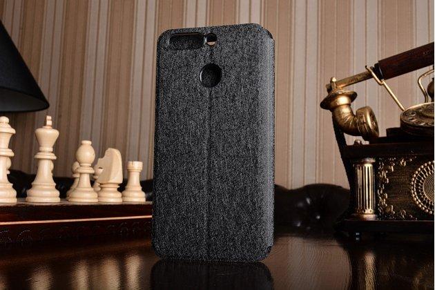 Фирменный чехол-книжка из качественной водоотталкивающей импортной кожи на жёсткой металлической основе для Huawei Honor 8 Pro 5.7/Huawei Honor V9 5.7(DUK-AL20) чёрного цвета.
