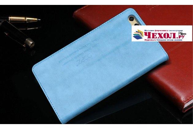 """Фирменный премиальный элитный чехол-книжка с логотипом из качественной импортной кожи с мульти-подставкой и визитницей для Huawei Honor 9 """"Ретро"""" голубой"""
