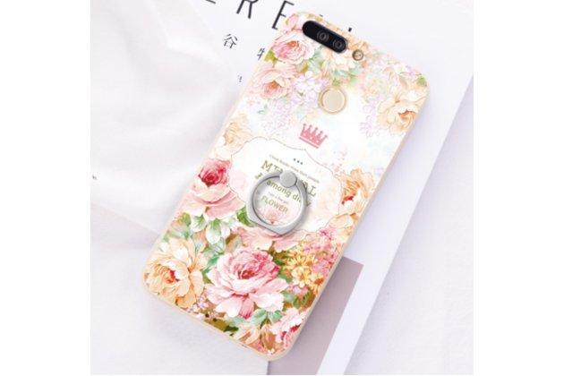 """Фирменная ультра-тонкая полимерная из мягкого качественного силикона задняя панель-чехол-накладка для Huawei Honor 9 """"Винтажные розы"""""""