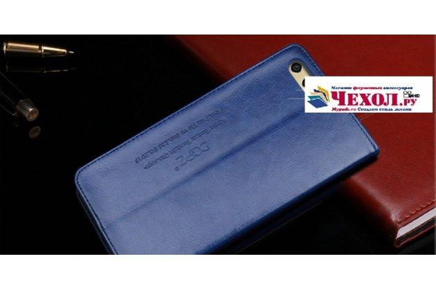 """Фирменный премиальный элитный чехол-книжка с логотипом из качественной импортной кожи с мульти-подставкой и визитницей для Huawei Honor 9 """"Ретро"""" синий"""