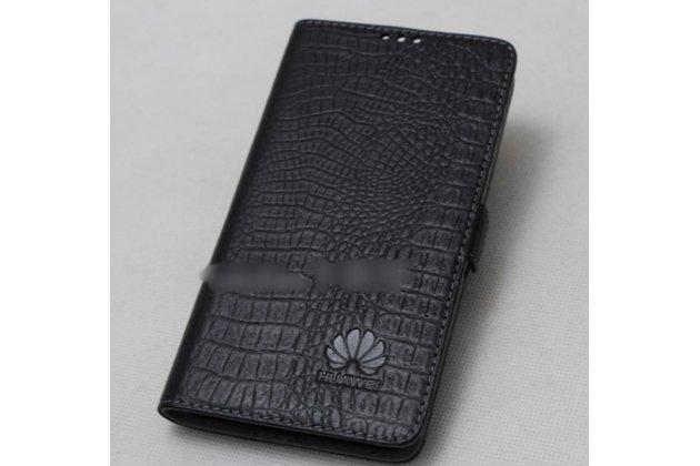 Фирменный оригинальный подлинный чехол с логотипом для Huawei Honor 9 из натуральной кожи крокодила черный