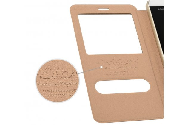 Фирменный чехол-книжка для Huawei Honor 9 розовое золото с окошком для входящих вызовов и свайпом водоотталкивающий
