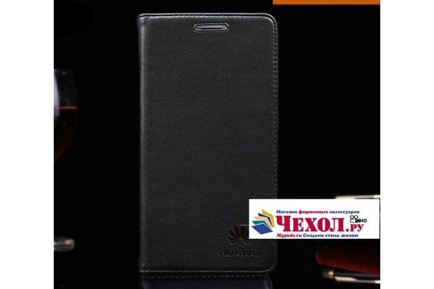 """Фирменный премиальный элитный чехол-книжка с логотипом из качественной импортной кожи с мульти-подставкой и визитницей для Huawei Honor 9 """"Ретро"""" черный"""