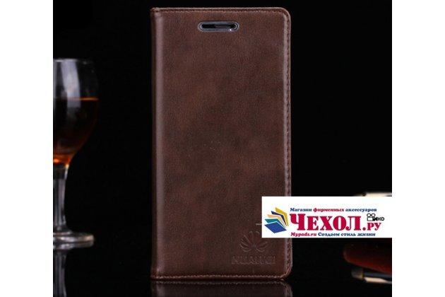 """Фирменный премиальный элитный чехол-книжка с логотипом из качественной импортной кожи с мульти-подставкой и визитницей для Huawei Honor 9 """"Ретро"""" коричневый"""