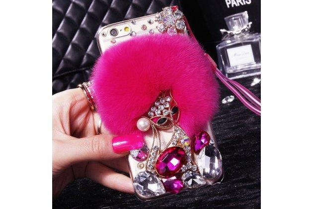 Фирменная роскошная элитная пластиковая задняя панель-накладка украшенная стразами кристалликами и декорированная элементами для Huawei Honor 9 пушистик розовая