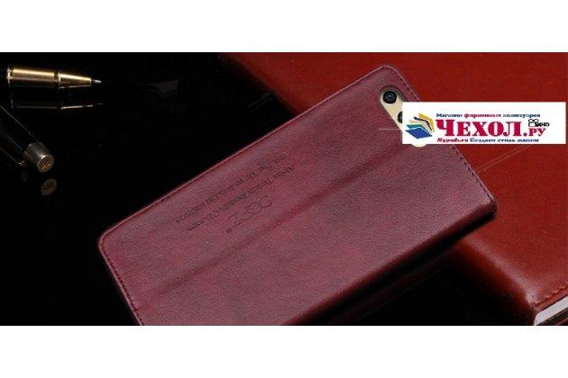 """Фирменный премиальный элитный чехол-книжка с логотипом из качественной импортной кожи с мульти-подставкой и визитницей для Huawei Honor 9 """"Ретро"""" цвет Красное вино"""