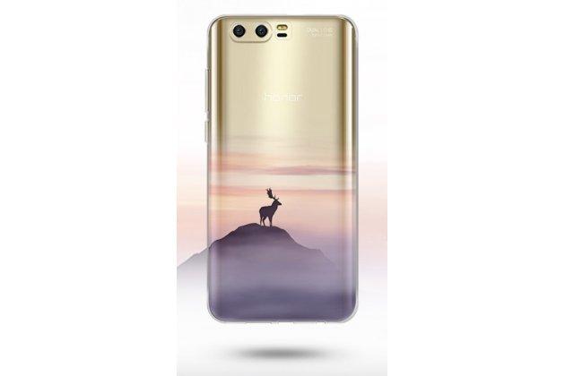 Фирменная ультра-тонкая полимерная из мягкого качественного силикона задняя панель-чехол-накладка для Huawei Honor 9 олень полупрозрачная