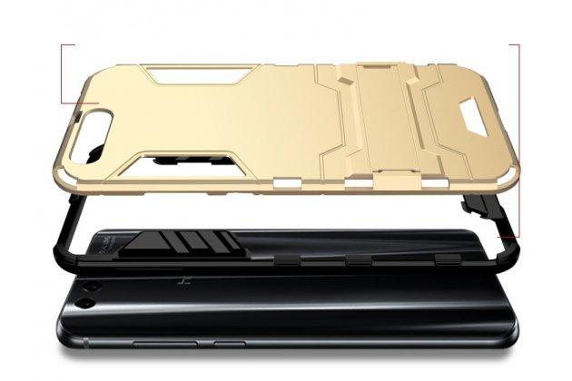 Противоударный усиленный ударопрочный фирменный чехол-бампер-пенал для Huawei Honor 9 серебристый