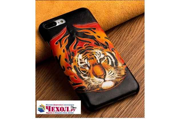 """Фирменная роскошная задняя панель-крышка обтянутая импортной кожей для Huawei Honor 9 """"тематика Тигр"""""""