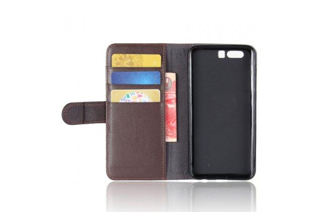 Фирменный чехол-книжка из качественной импортной кожи с мульти-подставкой застёжкой и визитницей для Huawei Honor 9 коричневый