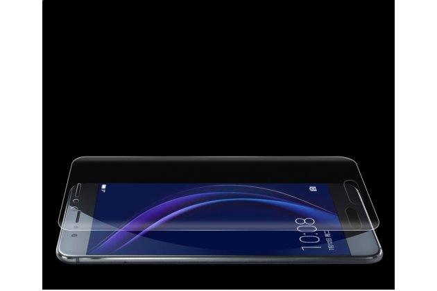 Фирменная оригинальная 3D защитная пленка с закругленными краями которое полностью закрывает экран для телефона Huawei Honor 9 глянцевая