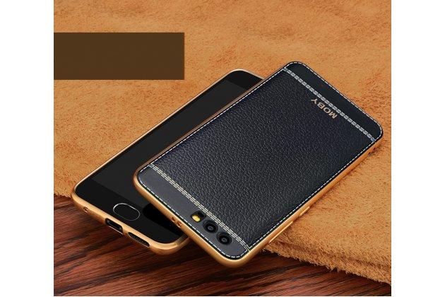 Фирменная премиальная элитная крышка-накладка из качественного силикона с дизайном под кожу для Huawei Honor 9  черная