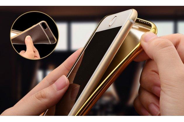 Фирменная премиальная элитная крышка-накладка из качественного силикона с дизайном под кожу для Huawei Honor 9 коричневая